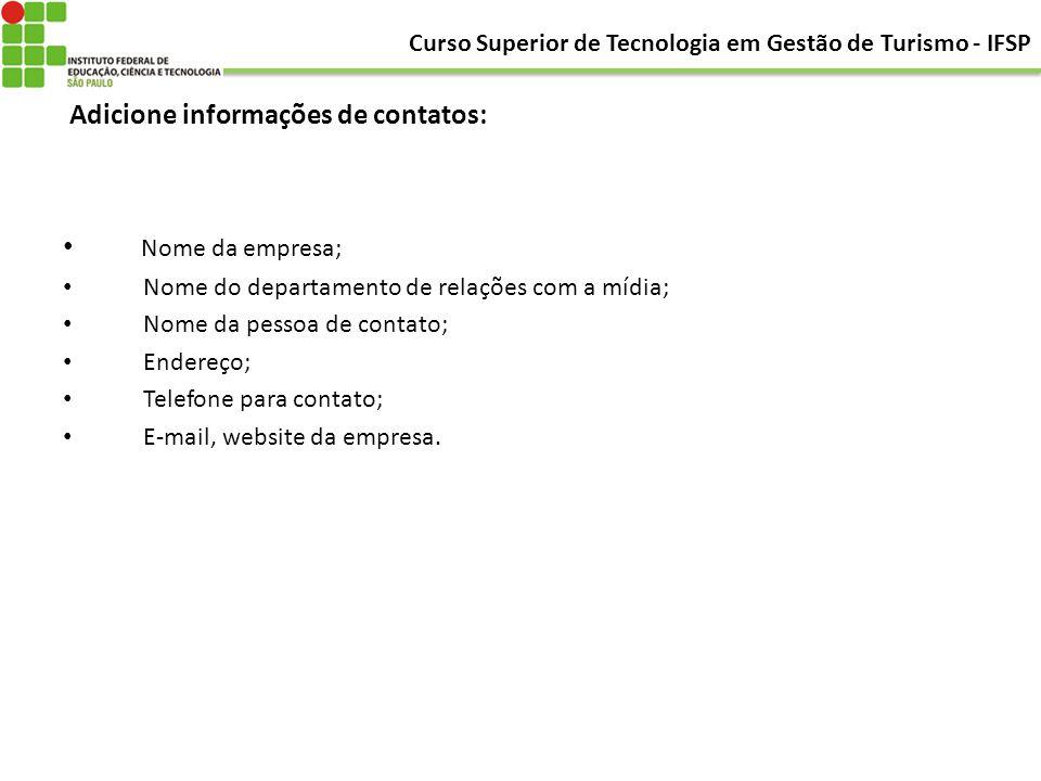 Adicione informações de contatos: