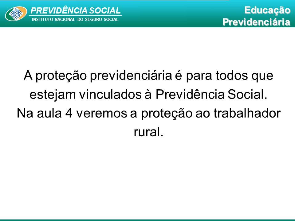 Na aula 4 veremos a proteção ao trabalhador rural.