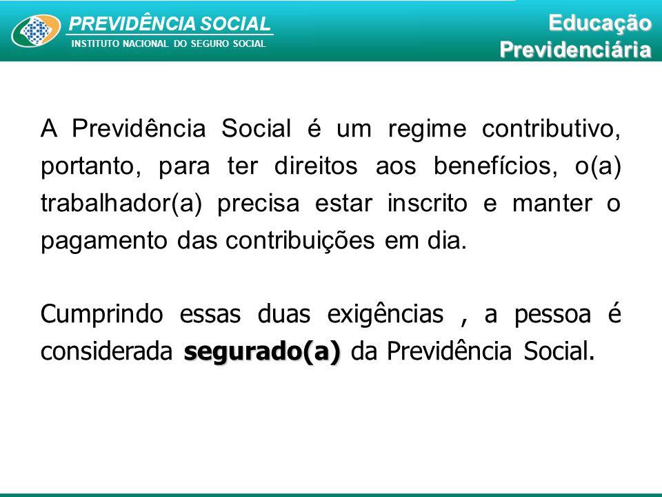 A Previdência Social é um regime contributivo, portanto, para ter direitos aos benefícios, o(a) trabalhador(a) precisa estar inscrito e manter o pagamento das contribuições em dia.