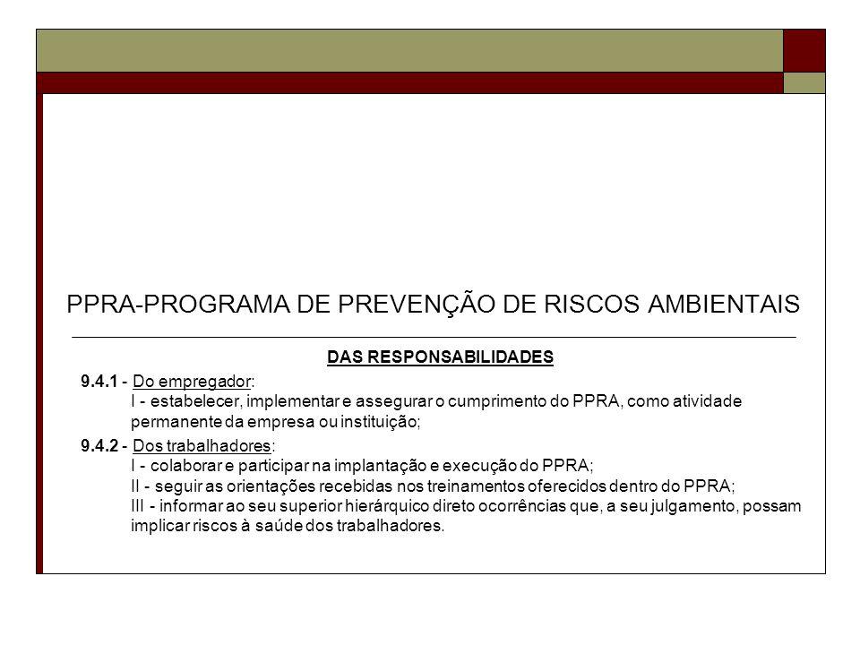 PPRA-PROGRAMA DE PREVENÇÃO DE RISCOS AMBIENTAIS