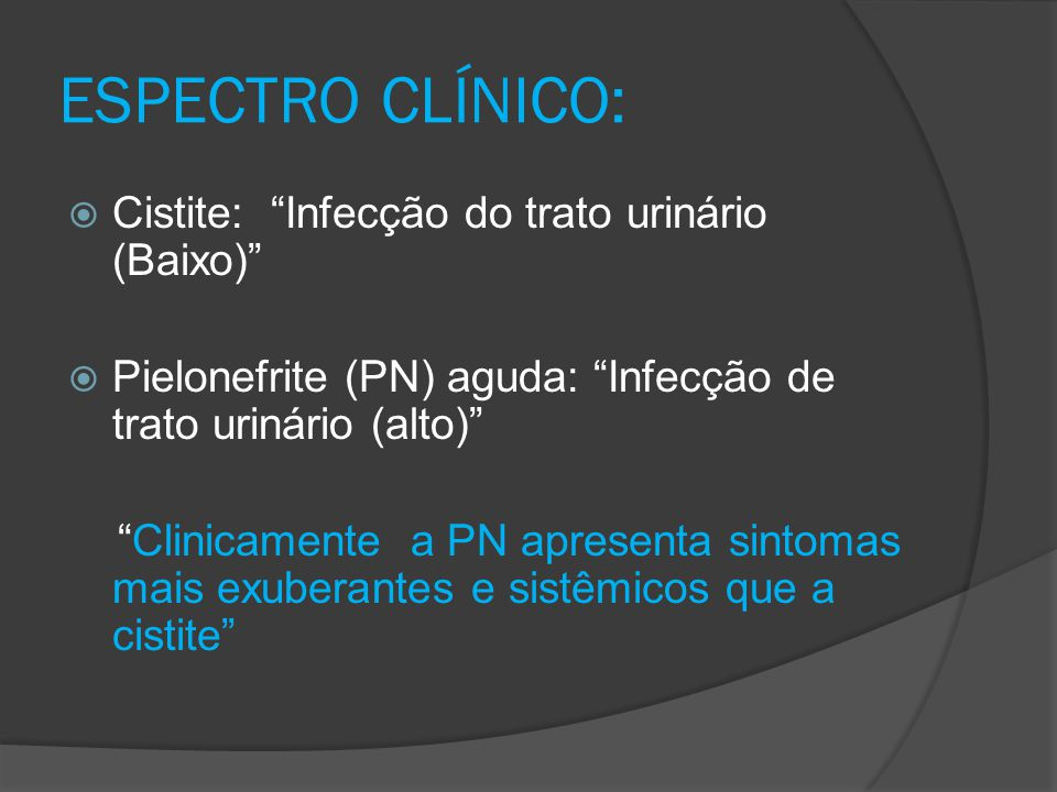 ESPECTRO CLÍNICO: Cistite: Infecção do trato urinário (Baixo)