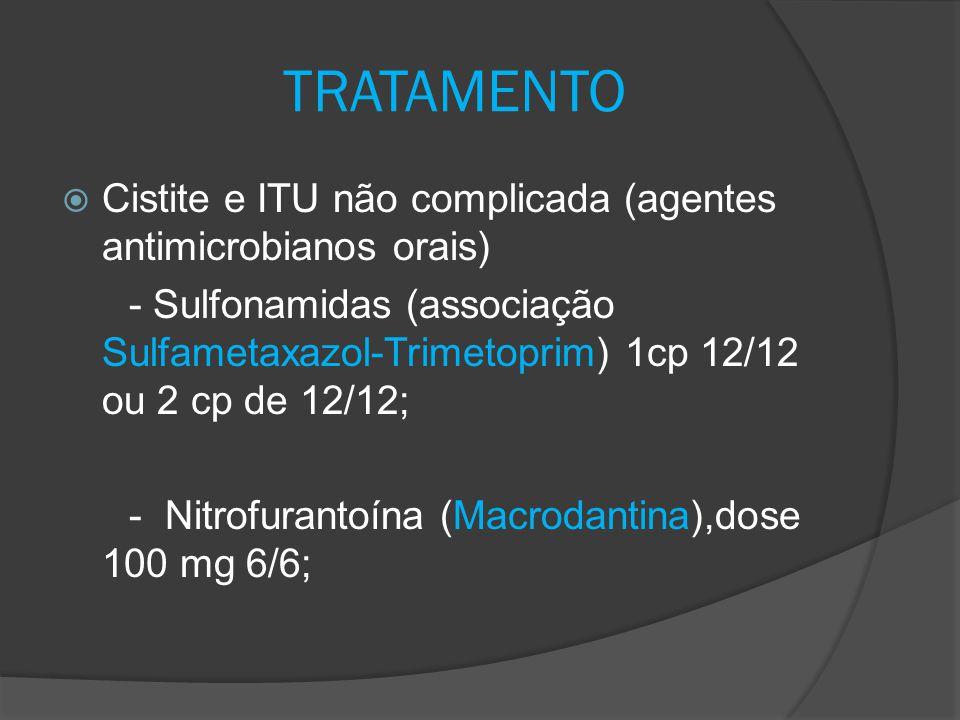 TRATAMENTO Cistite e ITU não complicada (agentes antimicrobianos orais)