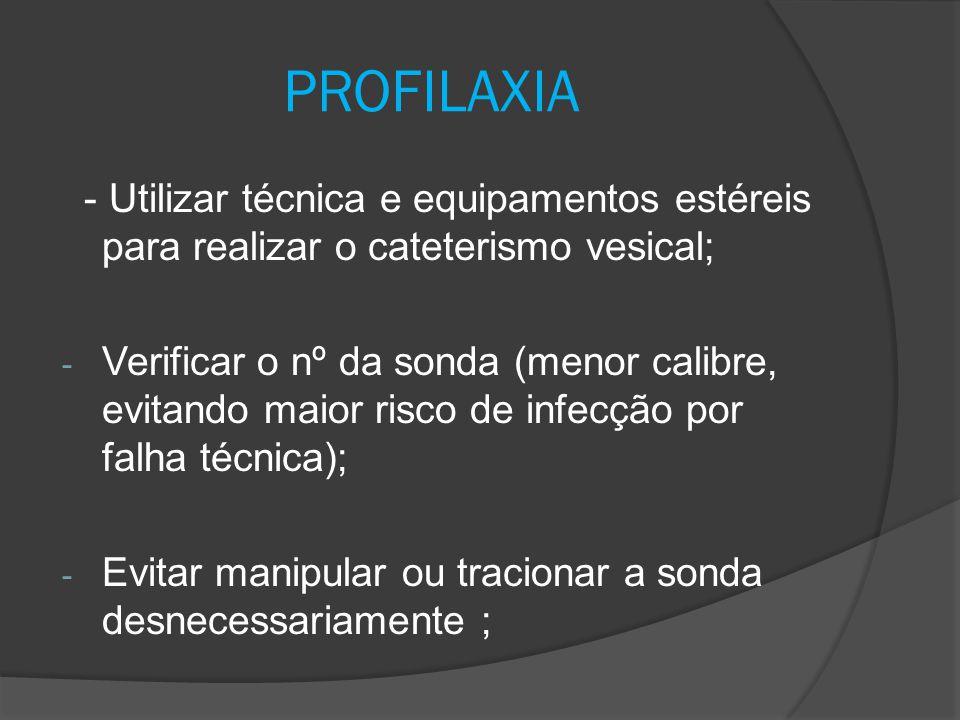 PROFILAXIA - Utilizar técnica e equipamentos estéreis para realizar o cateterismo vesical;