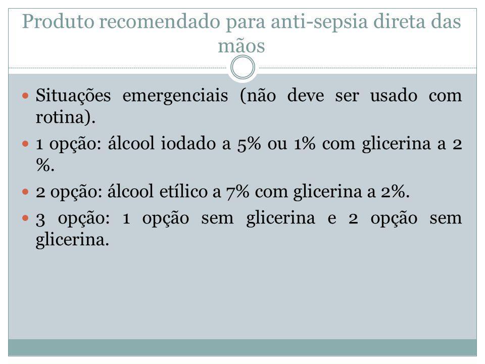 Produto recomendado para anti-sepsia direta das mãos