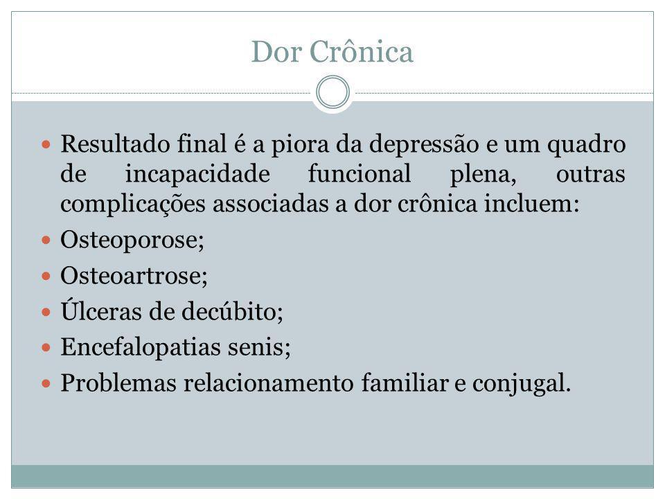 Dor Crônica Resultado final é a piora da depressão e um quadro de incapacidade funcional plena, outras complicações associadas a dor crônica incluem: