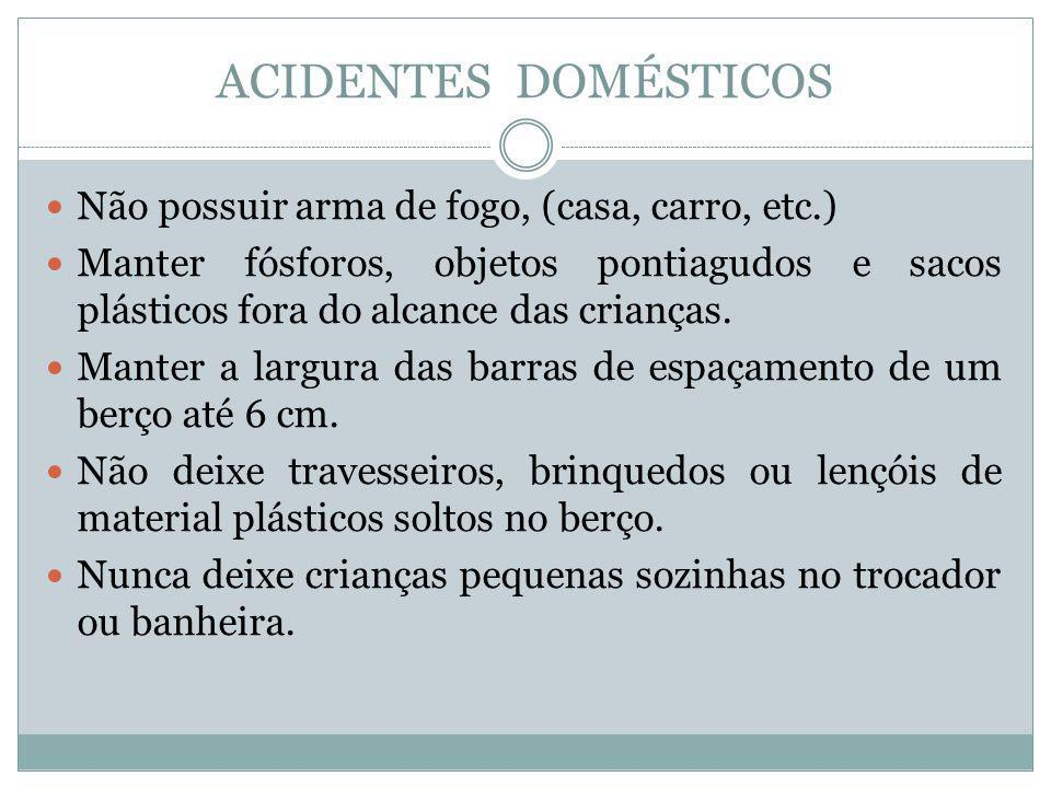 ACIDENTES DOMÉSTICOS Não possuir arma de fogo, (casa, carro, etc.)