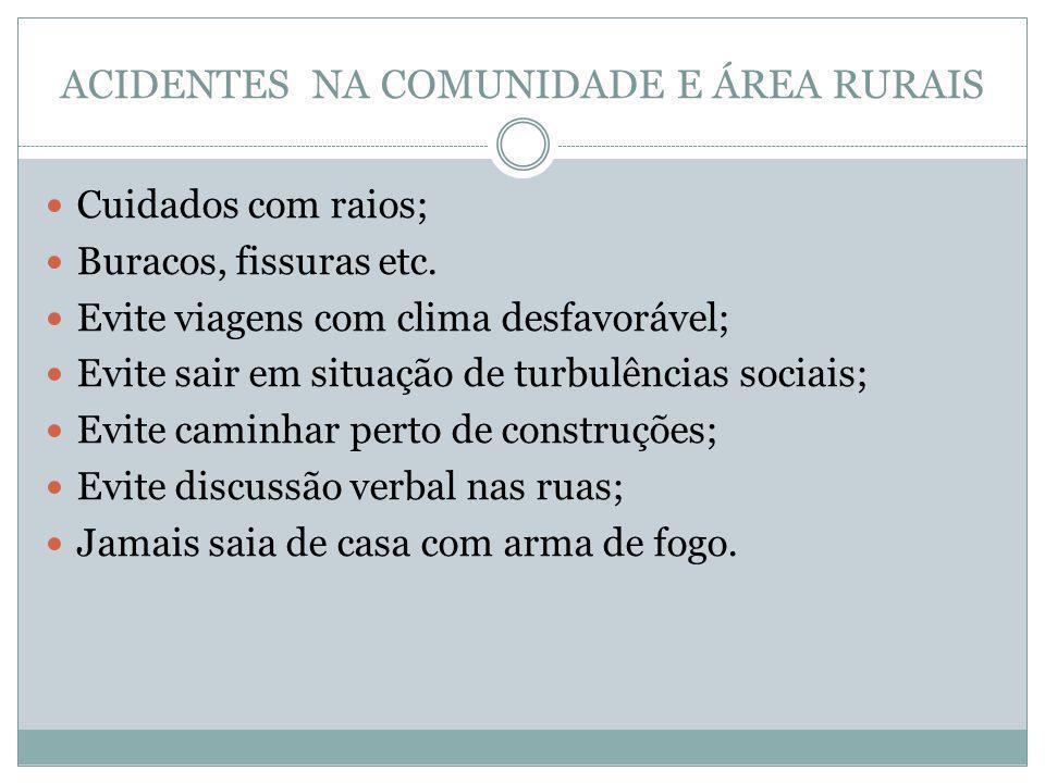 ACIDENTES NA COMUNIDADE E ÁREA RURAIS