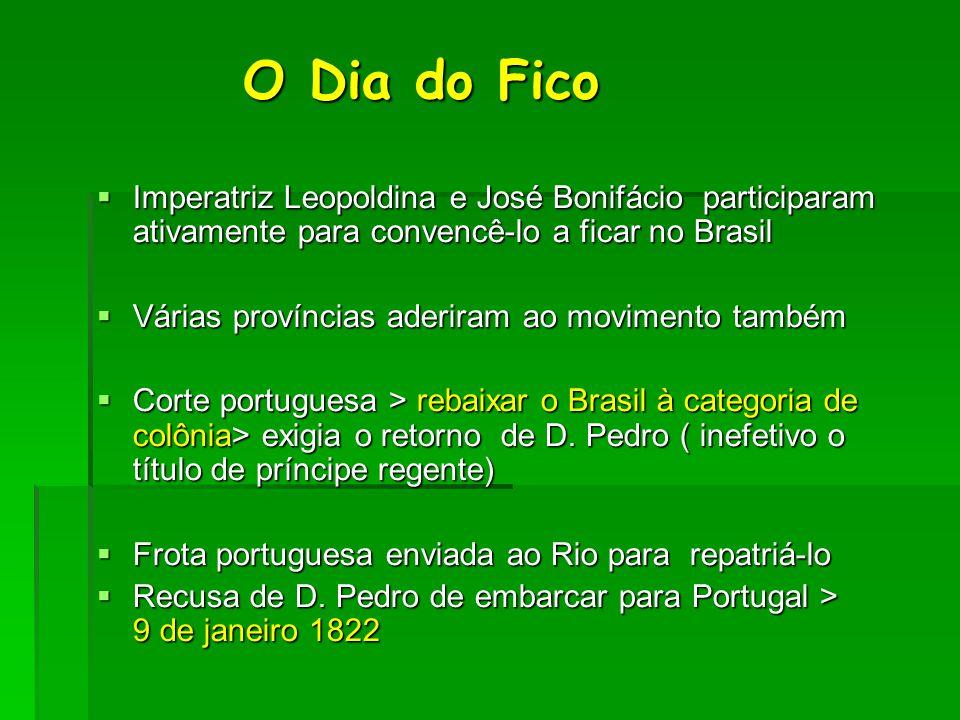 O Dia do Fico Imperatriz Leopoldina e José Bonifácio participaram ativamente para convencê-lo a ficar no Brasil.