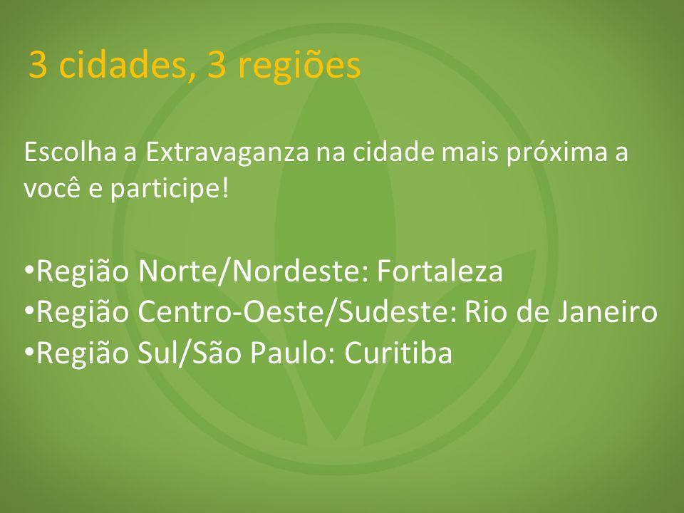3 cidades, 3 regiões Região Norte/Nordeste: Fortaleza