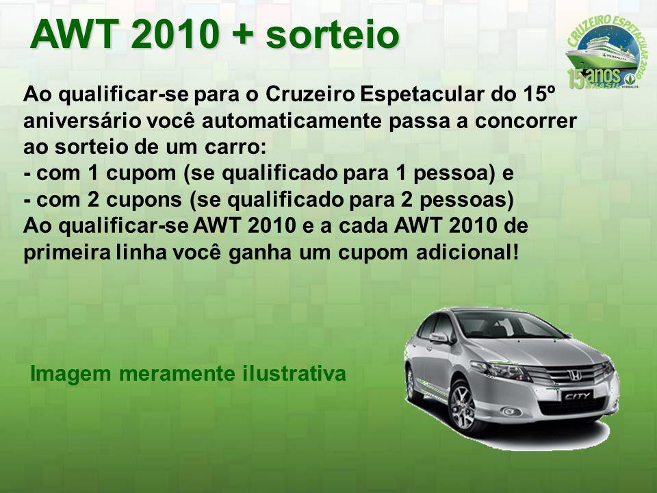 AWT 2010 + sorteio Ao qualificar-se para o Cruzeiro Espetacular do 15º aniversário você automaticamente passa a concorrer ao sorteio de um carro: