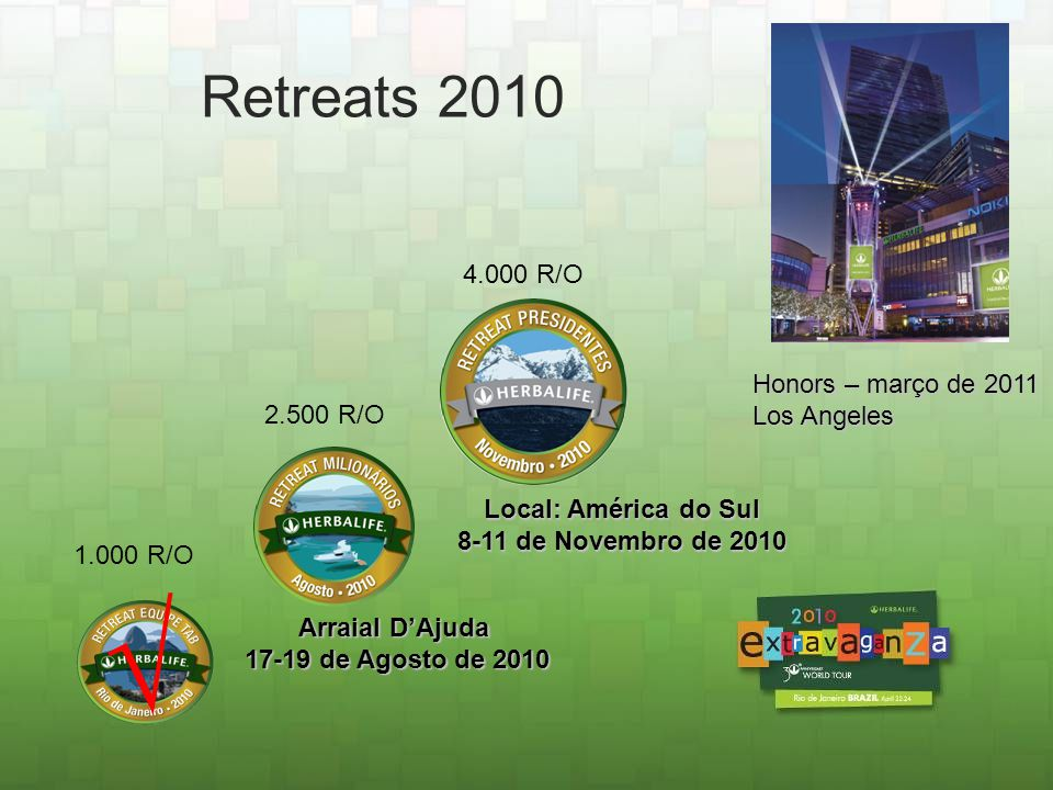 √ Retreats 2010 4.000 R/O Honors – março de 2011 Los Angeles 2.500 R/O