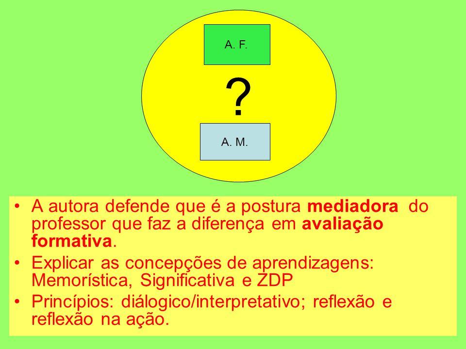 A. F. A. M. A autora defende que é a postura mediadora do professor que faz a diferença em avaliação formativa.