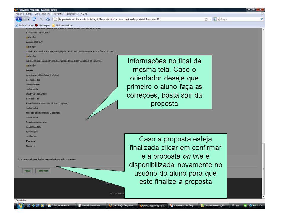 Informações no final da mesma tela