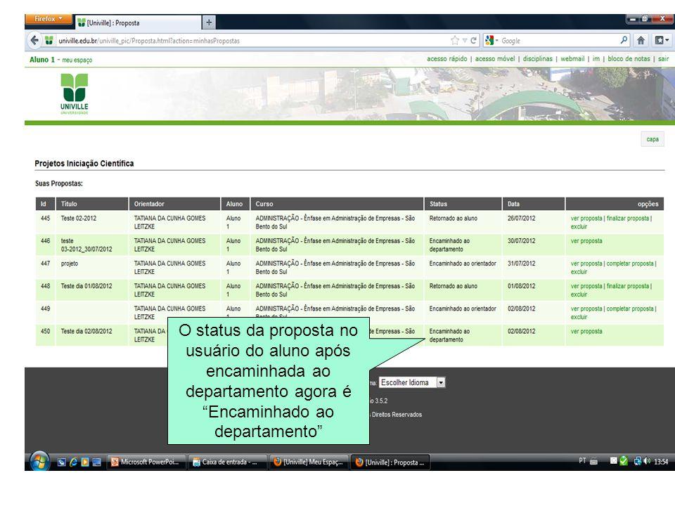 O status da proposta no usuário do aluno após encaminhada ao departamento agora é Encaminhado ao departamento