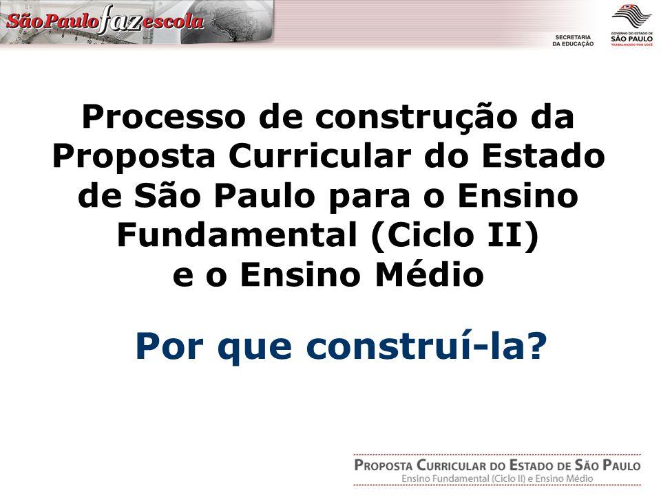 Processo de construção da Proposta Curricular do Estado de São Paulo para o Ensino Fundamental (Ciclo II) e o Ensino Médio