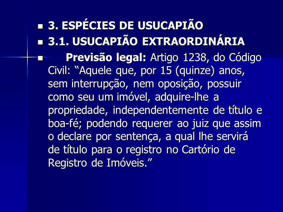 3. ESPÉCIES DE USUCAPIÃO 3.1. USUCAPIÃO EXTRAORDINÁRIA.