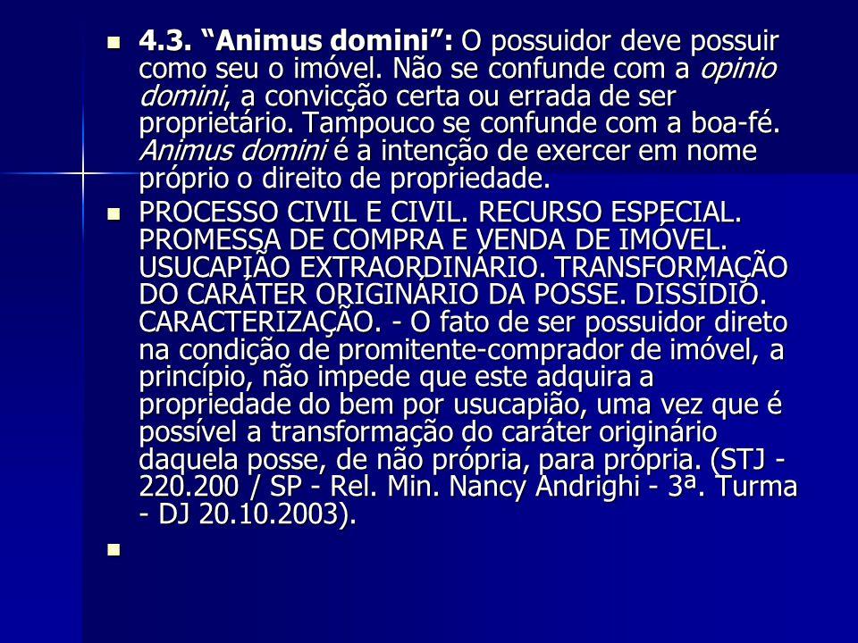 4. 3. Animus domini : O possuidor deve possuir como seu o imóvel