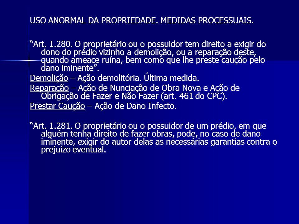 USO ANORMAL DA PROPRIEDADE. MEDIDAS PROCESSUAIS.