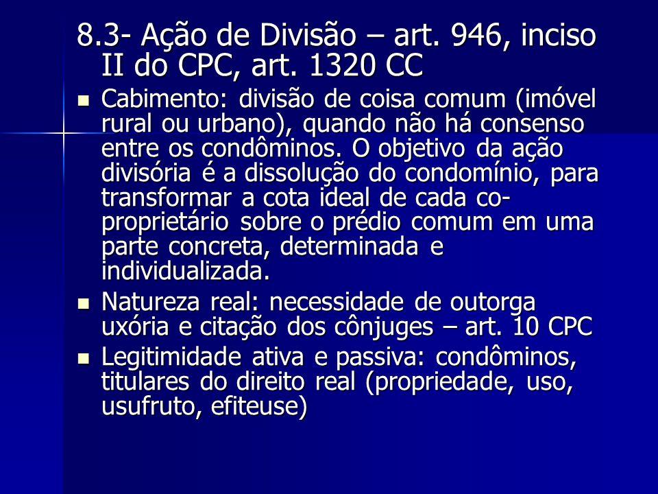 8.3- Ação de Divisão – art. 946, inciso II do CPC, art. 1320 CC
