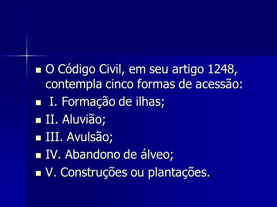 O Código Civil, em seu artigo 1248, contempla cinco formas de acessão: