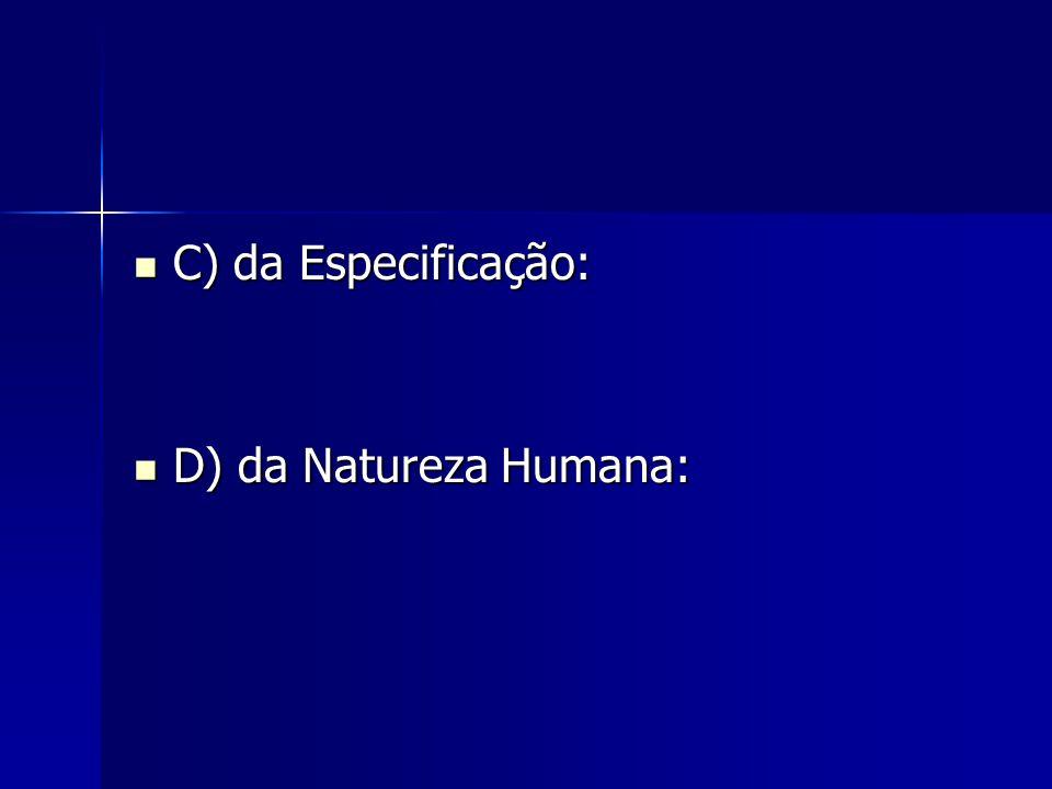C) da Especificação: D) da Natureza Humana: