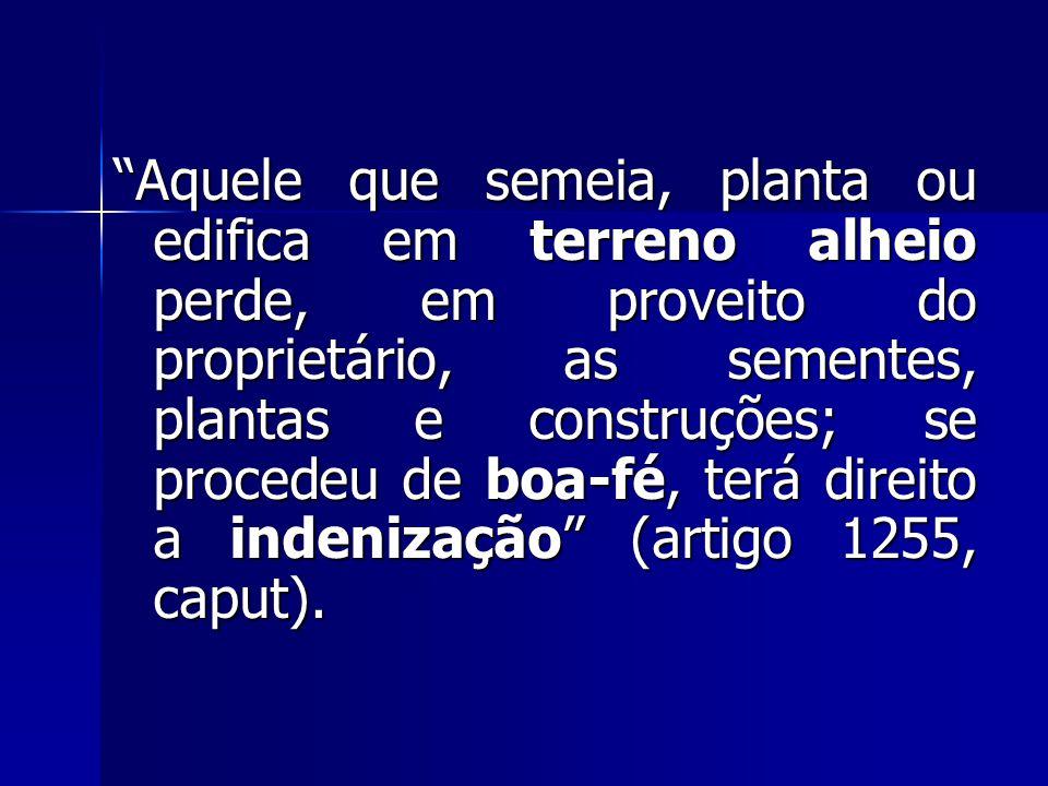 Aquele que semeia, planta ou edifica em terreno alheio perde, em proveito do proprietário, as sementes, plantas e construções; se procedeu de boa-fé, terá direito a indenização (artigo 1255, caput).
