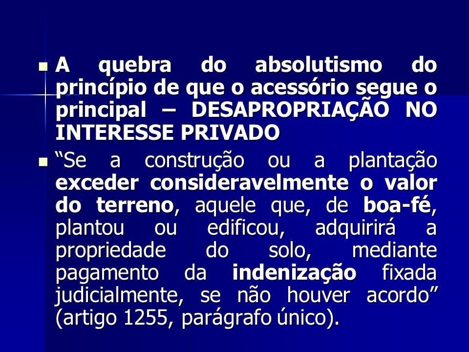 A quebra do absolutismo do princípio de que o acessório segue o principal – DESAPROPRIAÇÃO NO INTERESSE PRIVADO