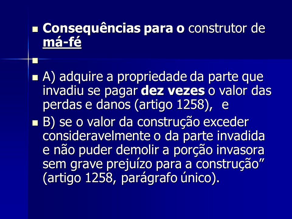 Consequências para o construtor de má-fé