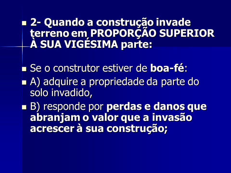 2- Quando a construção invade terreno em PROPORÇÃO SUPERIOR À SUA VIGÉSIMA parte:
