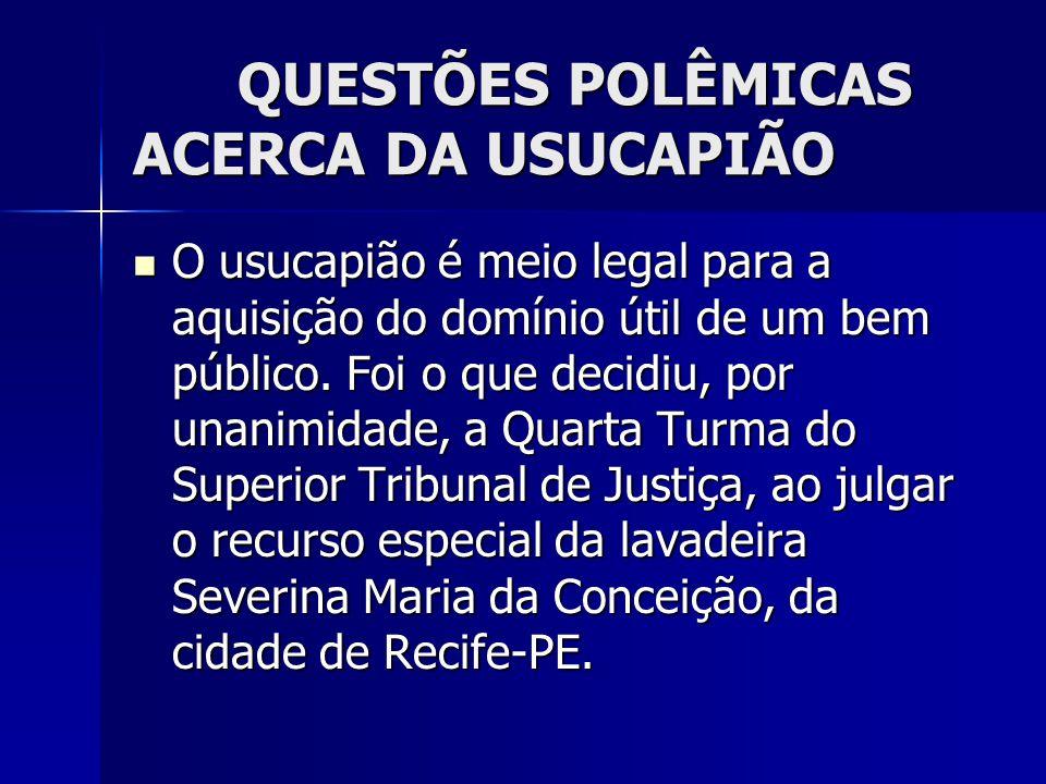 QUESTÕES POLÊMICAS ACERCA DA USUCAPIÃO