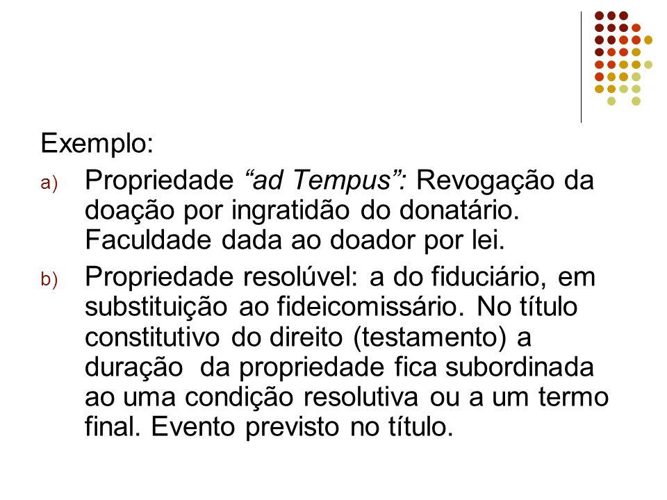 Exemplo: Propriedade ad Tempus : Revogação da doação por ingratidão do donatário. Faculdade dada ao doador por lei.