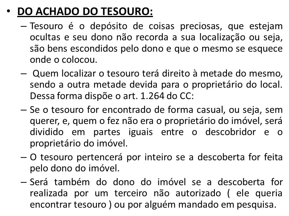 DO ACHADO DO TESOURO: