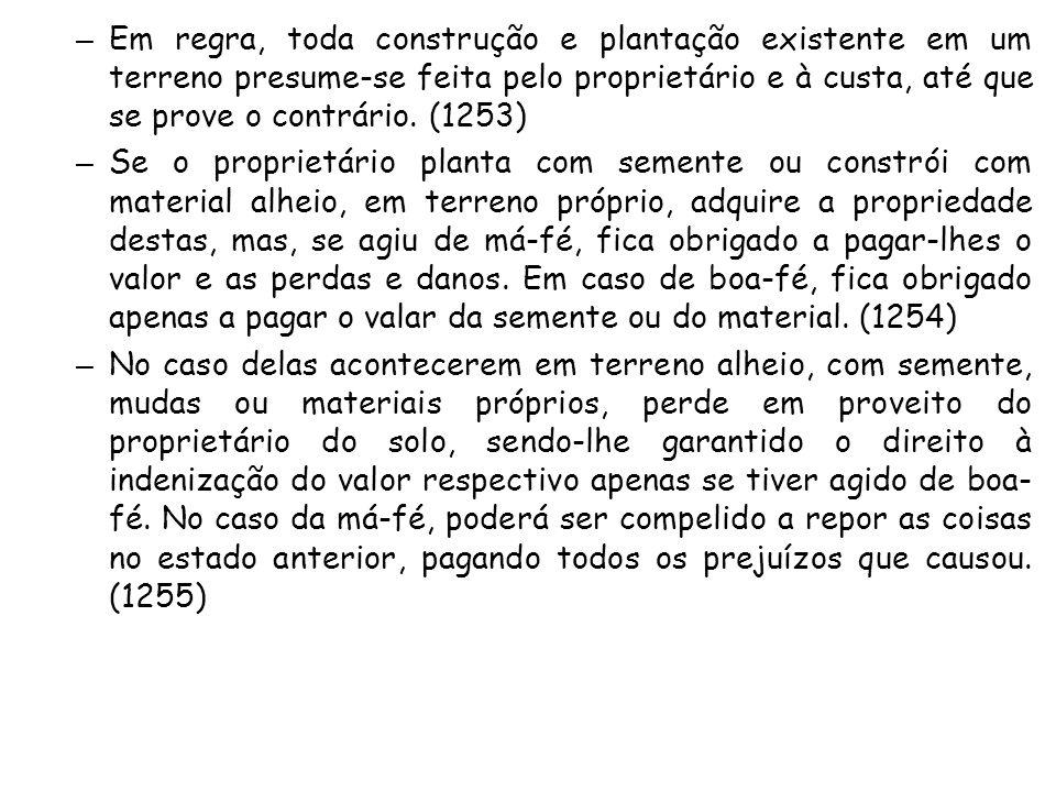 Em regra, toda construção e plantação existente em um terreno presume-se feita pelo proprietário e à custa, até que se prove o contrário. (1253)