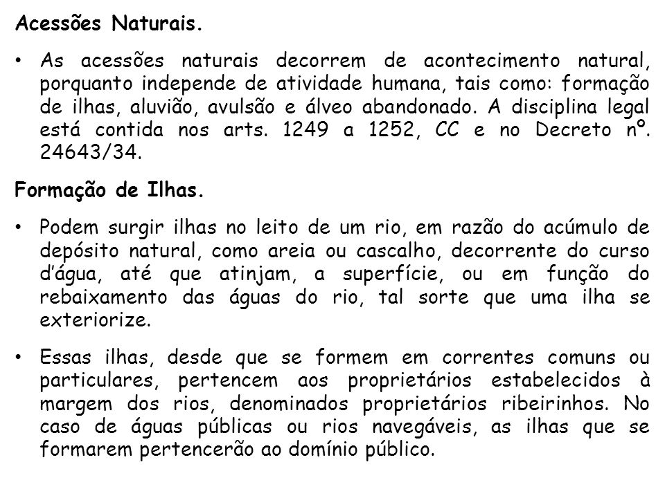 Acessões Naturais.