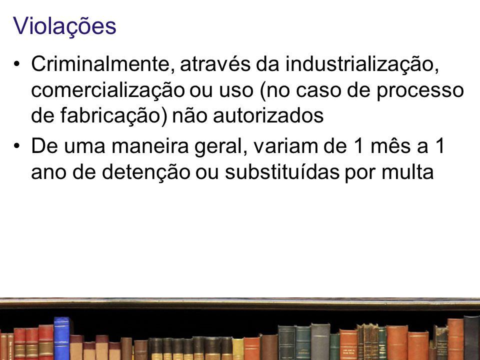 Violações Criminalmente, através da industrialização, comercialização ou uso (no caso de processo de fabricação) não autorizados.