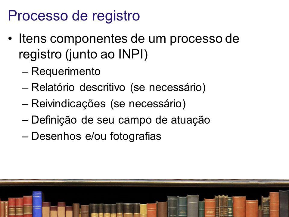 Processo de registro Itens componentes de um processo de registro (junto ao INPI) Requerimento. Relatório descritivo (se necessário)