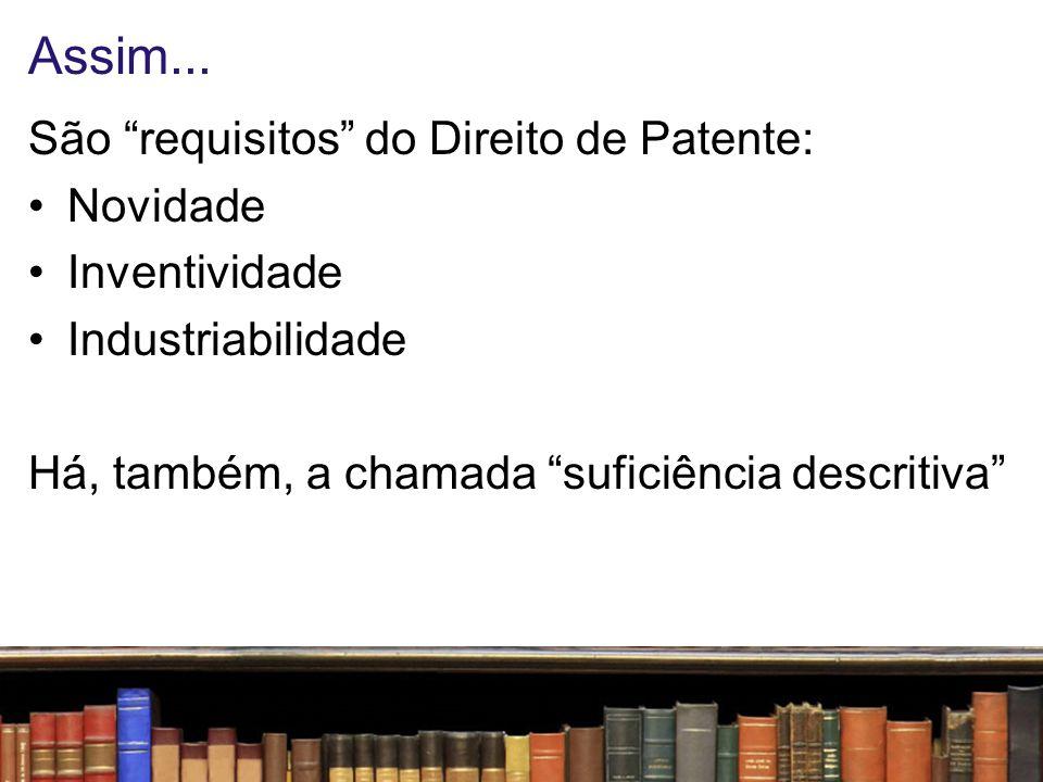 Assim... São requisitos do Direito de Patente: Novidade