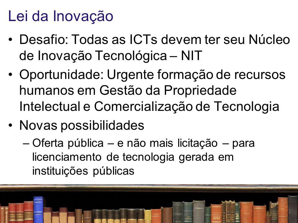 Lei da Inovação Desafio: Todas as ICTs devem ter seu Núcleo de Inovação Tecnológica – NIT.