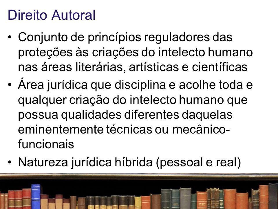 Direito Autoral Conjunto de princípios reguladores das proteções às criações do intelecto humano nas áreas literárias, artísticas e científicas.