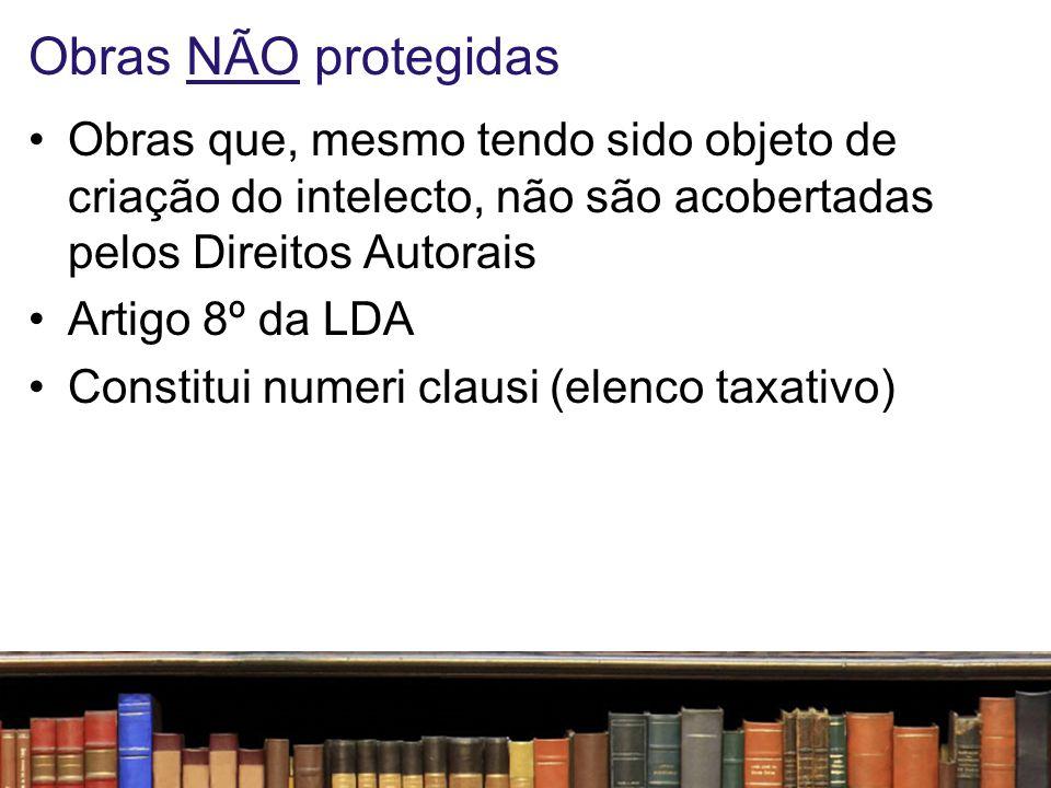 Obras NÃO protegidas Obras que, mesmo tendo sido objeto de criação do intelecto, não são acobertadas pelos Direitos Autorais.