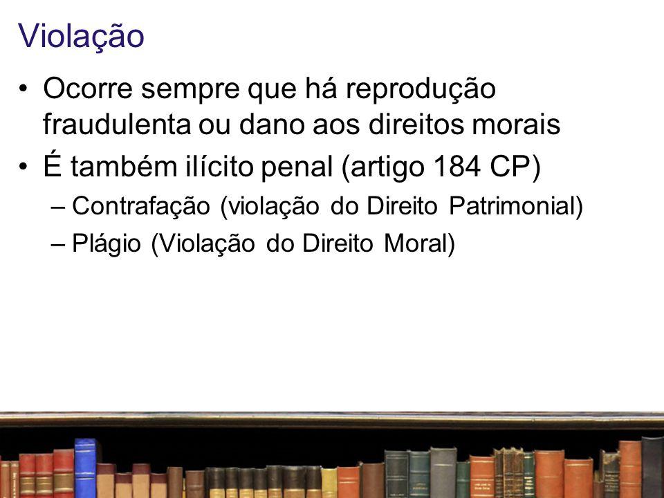 Violação Ocorre sempre que há reprodução fraudulenta ou dano aos direitos morais. É também ilícito penal (artigo 184 CP)