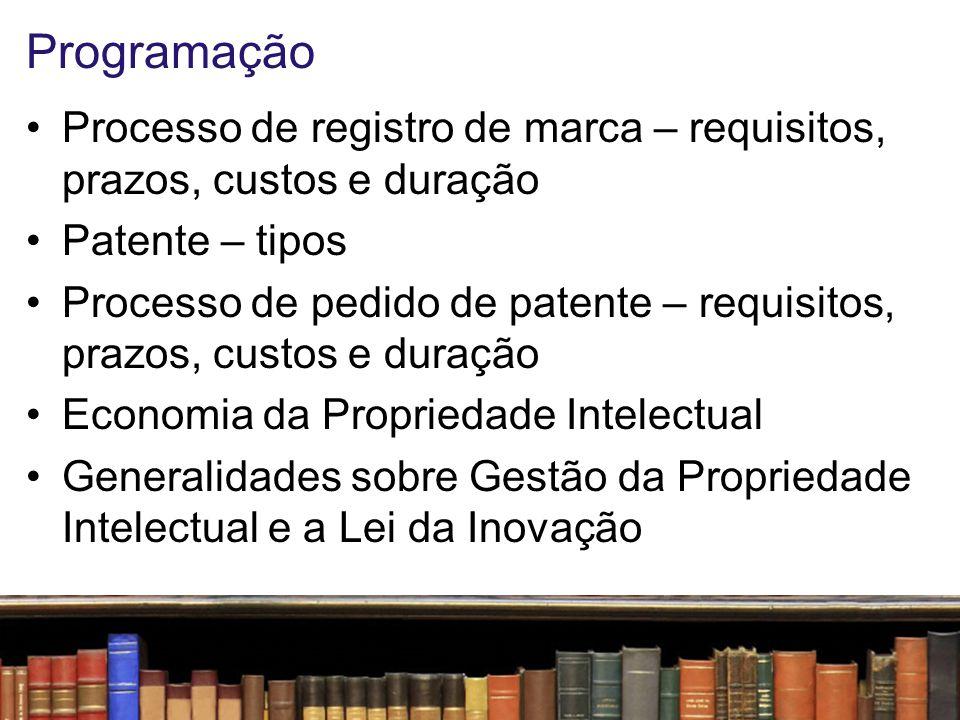 Programação Processo de registro de marca – requisitos, prazos, custos e duração. Patente – tipos.