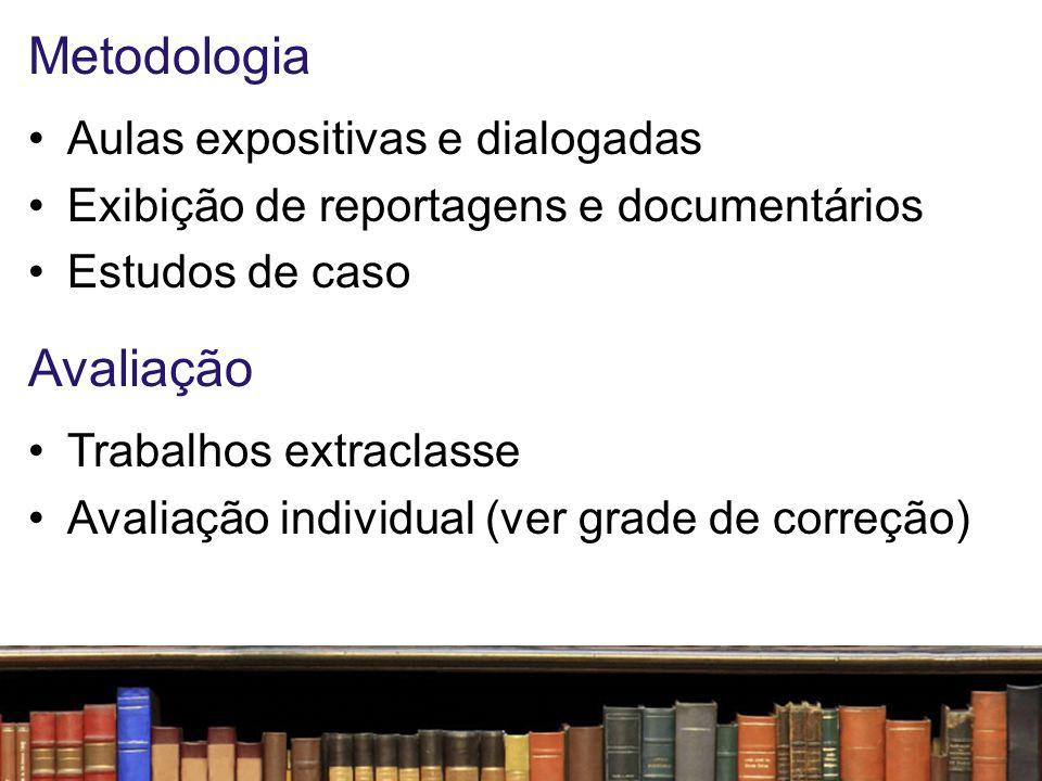 Metodologia Avaliação Aulas expositivas e dialogadas