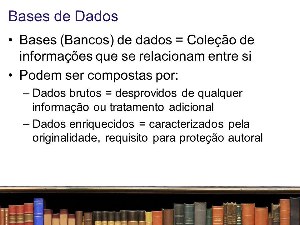 Bases de Dados Bases (Bancos) de dados = Coleção de informações que se relacionam entre si. Podem ser compostas por: