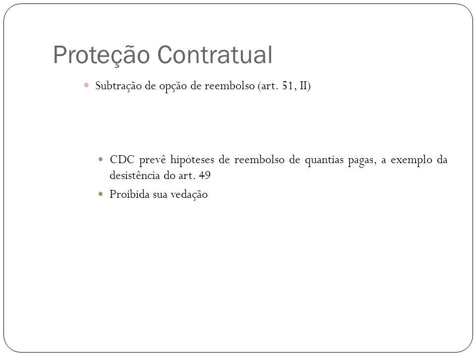 Proteção Contratual Subtração de opção de reembolso (art. 51, II)