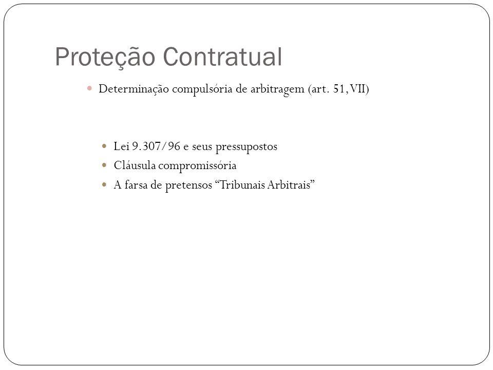 Proteção Contratual Determinação compulsória de arbitragem (art. 51, VII) Lei 9.307/96 e seus pressupostos.