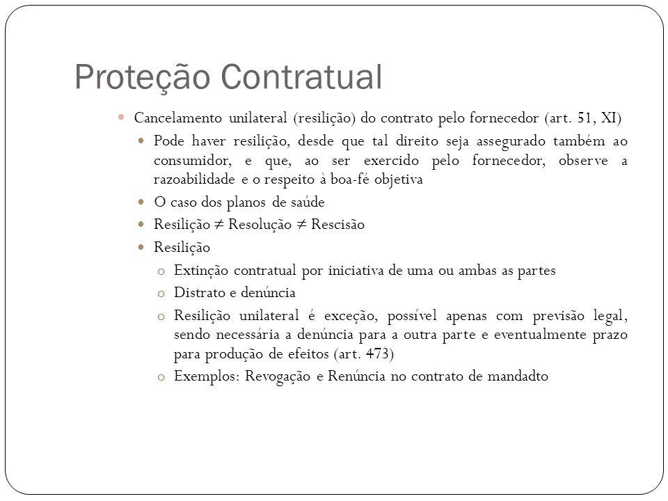 Proteção Contratual Cancelamento unilateral (resilição) do contrato pelo fornecedor (art. 51, XI)