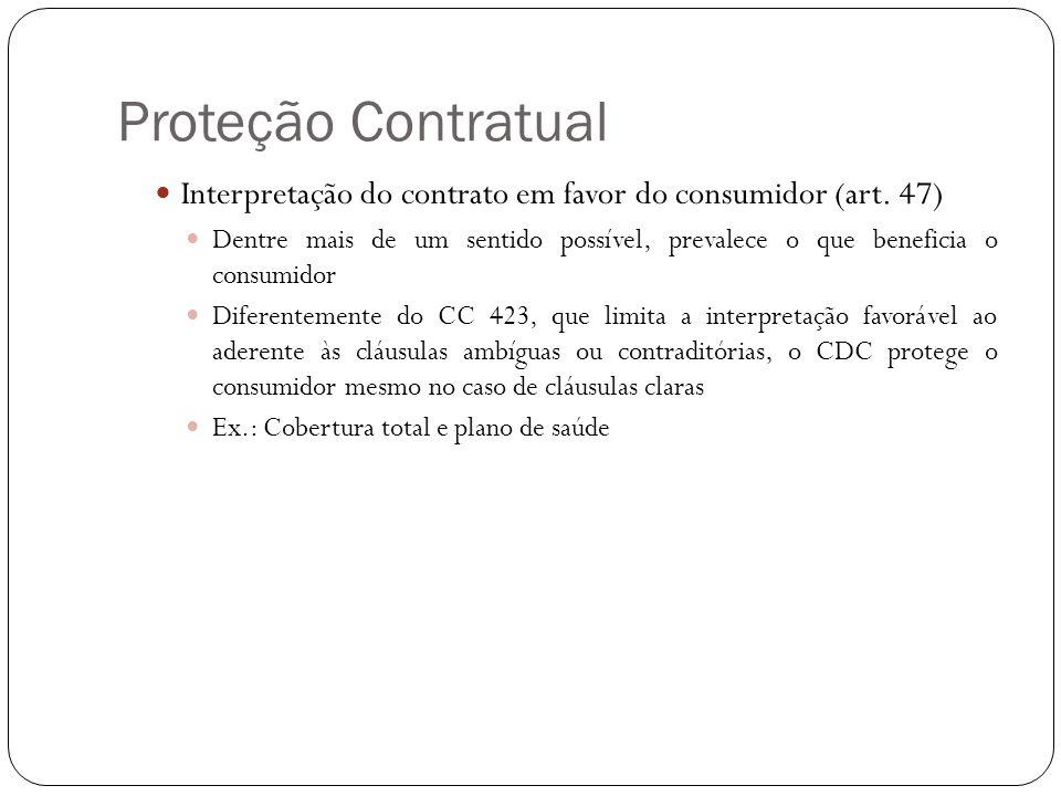 Proteção Contratual Interpretação do contrato em favor do consumidor (art. 47)