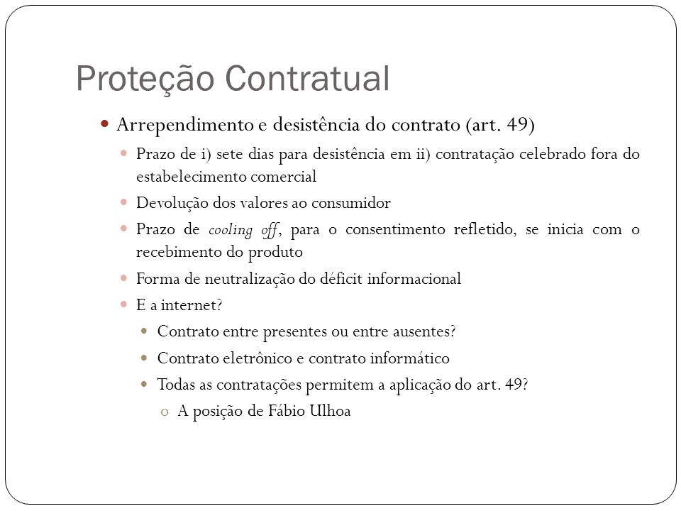 Proteção Contratual Arrependimento e desistência do contrato (art. 49)