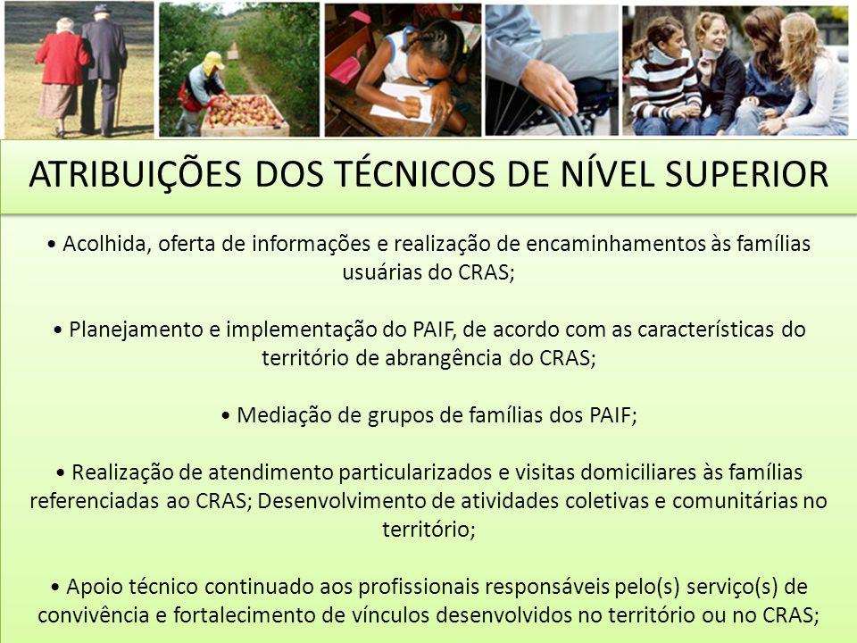 ATRIBUIÇÕES DOS TÉCNICOS DE NÍVEL SUPERIOR